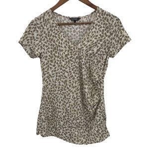 4/$30 George Cream Brown Short Sleeve Top Small